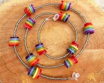 SALE Rainbow Buttons and Silver Beaded Glasses Chain