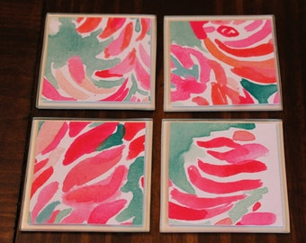 UpCycled Lilly Pulitzer Inspired Coasters-Floral