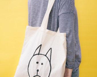 Embroidered tote bag | The sad cat design