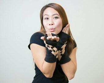 Arm Warmers - Brown Fingerless Wrist Warmers - Checkers Arm Warmers - Fleece Arm Warmers - Fashion Arm Sleeves - Brown Arm Warmers