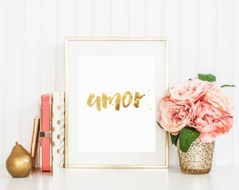 Amor print modern gold decor artwork printable wall art gold print love print typography print nursery wall art  wall decor