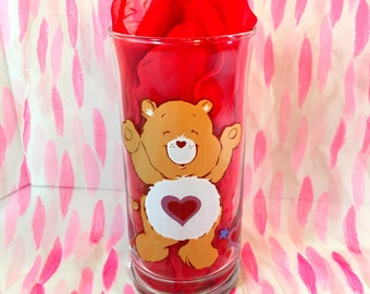 Vintage Care Bears Tenderheart Glass Pizza Hut Collector's Glass 1983, American Greetings, Hearts, Love, Carebears