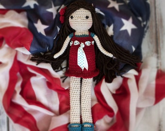 Handmade Crocheted Doll, Amigurumi Doll, Patriotic doll, Red White and Blue Doll
