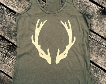Deer Antlers Ideal Tank, Women's Country Lifestyle Apparel Tank Hunting Deer Season Antler T-Shirt Southern Clothing, Country Sayings Shirt