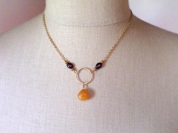 orange gemstone pendant necklace orange and gold