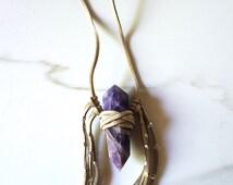 DREAMER nude vegan suede + amethyst wrap necklace boho hippie