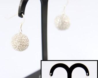 Earrings beaded filigree silver 999