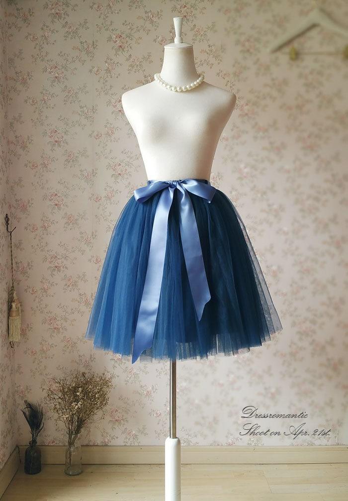 navy blue tutu skirt knee length skirt by