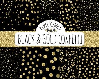 Gold Glitter Confetti Digital Paper. Black and Gold Confetti Scarpbooking Background.  Galaxy Digital Paper. Christmas, New Year Patterns.
