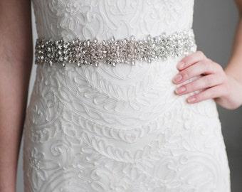 Rhinestone Bridal Belt | Silver Wedding Belt Sash | Crystal Wedding Sash | Rhinestone Wedding Dress Sash | THE CHARLOTTE