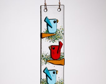Red and Aqua Trio of Birds Handmade Fused Glass Suncatcher Ornament