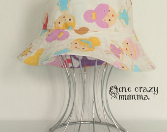 Baby Sized |Bucket Hat| made to order, sunhat, babies hat, reversible sun hat, girls sun hat, unicorns, ballerinas, custom made