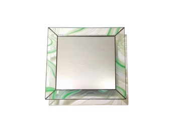 Stained Glass Mirror - Swirly Green Square - 40cm x 40cm