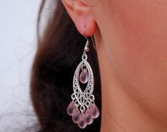 Pink earrings, teardrop earrings, Gypsy Boho Chandelier Earrings, Chic earrings, Bohemian Wedding