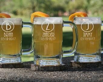 Personalized Beer Mug - 12oz. / Groomsmen Gifts / Etched Beer Mug with Handle / 5 Custom Engraved Beer Glasses / Glassware / Beer Gift Set