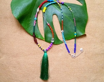 Tassel tango necklace - Eclectic necklace with dark green tassel and various colourful beads
