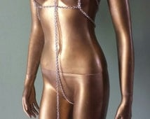 Sexy Silver METAL CHAIN HARNESS Crotchless Slingshot Erotic Lingerie Pasties Thong Collar Exotic Monokini Fetish Slave Submissive Bdsm