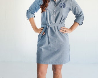 ON SALE Monogrammed Chambray Dress, Monogrammed Apparel, Chambray Shirt Dress, Monogrammed Dress, Women's Clothing, Gifts for Women