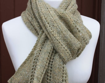 IONA Hand Knitted in Scotland Lace Scarf Wrap Shawl in Luxury Scottish Shetland Wool in Laurel Green Hand Made Knitwear Knit KN019