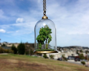 Forest Terrarium Glass Dome Pendant, Necklace with 22 inch chain