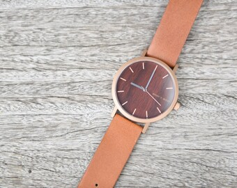 Luxury Wood Watch - Gift Wood Watch - Walnut Dial & Brown Italian Leather Wood Luxury Minimalist Watch
