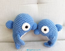 Crochet Dolphin Amigurumi, Handmade Stuffed Fish, Blue Dolphin Toy, Baby Shower gift, Valentine's day gift, Free shipping United States