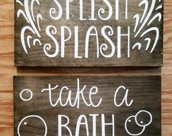 Splish Splash Take A Bath Bathroom Kids Waves Bubbles Rustic Wood Signs Home Decor 7x12