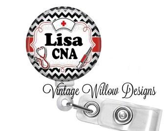 Personalized CNA (Certified Nursing Assistant) Black Chevron Badge Reel