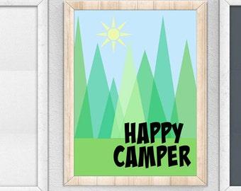 Happy Camper Digital Print, Nursery Digital Print, Happy Camper Print