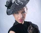 Elegant Veiled hat, black white headpiece, Royal Ascot fascinator, Kentucky derby hat, Audrey Hepburn hat, Hat, Haute couture hat, Chic hat