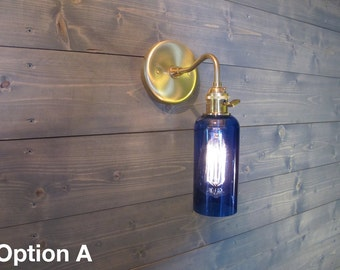 Large Blue Vodka Bottle Wall Sconce - Upcycled Industrial Glass Wall Mount Light