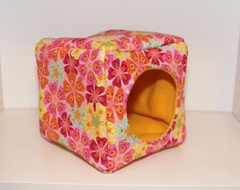 Guinea Pig Cuddle Cozy, Rat Snuggle Hut, Reinforced Hedgehog Cube - Pink Flowers with Yellow Fleece