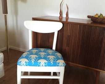 Mid Century Modern chair with jellyfish fabric