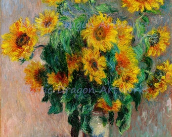 """Claude Monet """"Bouquet of Sunflowers"""" 1881 Reproduction Digital Print Wild Flowers Floral Wall Hanging"""
