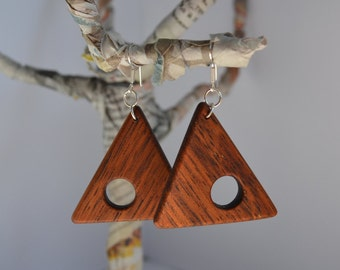 Wooden Earrings, Triangle Earrings Geometric Earrings, Wife Gift, Mom, nature holz jewelry, Gift Sister, Gift for Her,Earrings Gift Silver