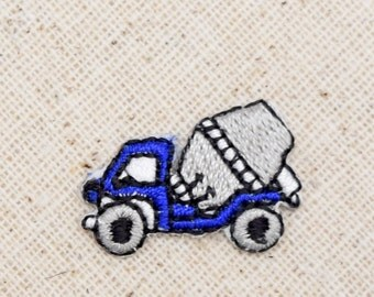 Small - Cement Truck - Blue and Gray - Embroidered Patch - Iron on Applique - AP511123