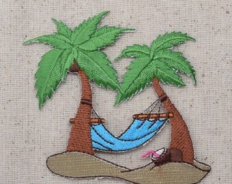 Palm Trees - Blue OR Orange Hammock - Iron on Applique - Embroidered Patch - 796408