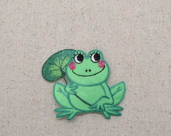 Childrens - Green Frog - with Lily Pad - Iron on Applique - Embroidered Patch