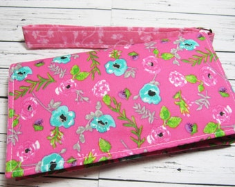 Smartphone Wristlet, iPhone Wallet, Cell Phone Holder, Pink Phone Wallet, Fabric Wristlet Wallet, Gift for Her