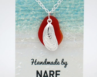 Cherry Red Recycled Glass Necklace with Mussel Charm