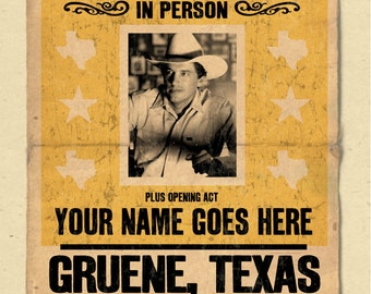 "Your Name on a George Strait concert poster 12""x18"" digital heavy poster - you are the opening act"