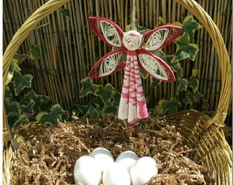 Easter Basket Angel Decoration - Guardian Angel Easter Decoration - Spring Home Decor Quilled Paper Angel Ornament - Easter Egg Hunt Prize