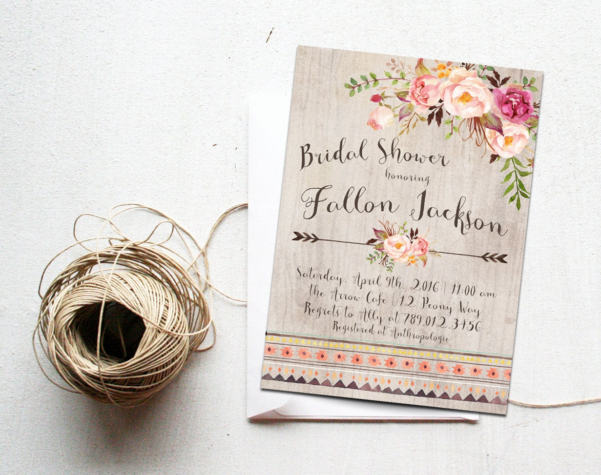 Bridal Shower Invitation Bohemian Bachelorette Party Invite