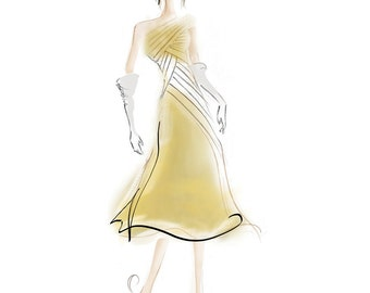 Gold Evening Dress Fashion Illustration Print