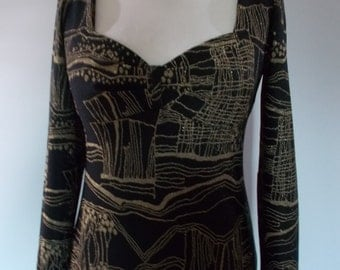 Vintage dress 70s Black evening dress with metallic gold pattern by Windsmoor Made in England size medium