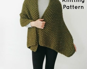 Knitting PATTERN - Chunky Knit Shawl / Wrap, Knitted Scarf, Beginner DIY Easy Knitting Pattern, Downloadable PDF - The Evergreen Shawl