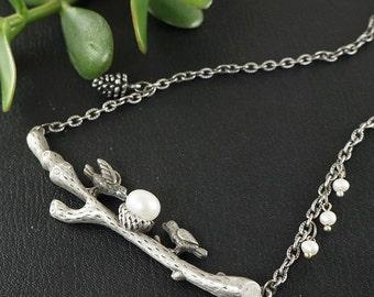Necklace Birds with pearls no.2 (#6800)