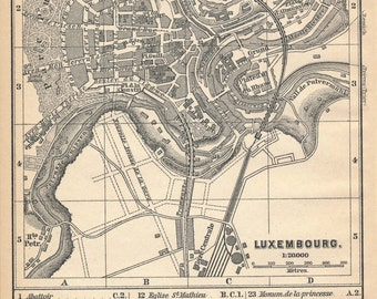 1892 Luxembourg (City), Luxembourg Vintage Map