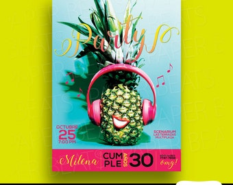 BIRTHDAY PARTY INVITATION - Tropical party - Pineapple Birthday - Digital and Printable Invitation