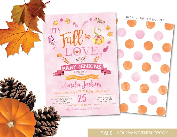 Girl Pumpkin Fall Baby Shower Invitation, Pink Fall In Love Baby Shower Invite, Burlap Autumn Shower, Neutral A Little Pumpkin Is On The Way